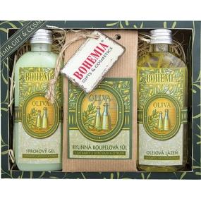 Bohemia Natur Oliva sprchový gel 100 ml + Koupelová sůl 150 g + Olejová lázeň 100 ml, kosmetická sada
