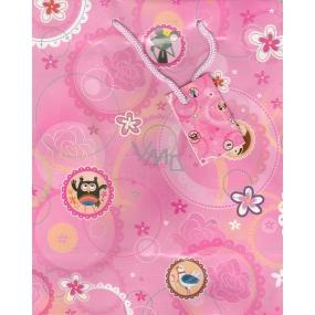 Nekupto Dárková papírová taška střední 23 x 18 x 10 cm růžová 1182 30 KFM