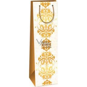 Ditipo Dárková papírová taška na láhev 12,3 x 7,8 x 36,2 cm béžová hnědý vzor