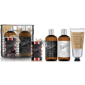 Baylis & Harding Men Zázvor a Limetka šampon na vlasy 300 ml + balzám po holení 200 ml + sprchový gel 300 ml + mýdlo na šňůrce 200 g + drátěný košík, kosmetická sada pro muže