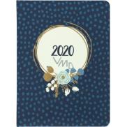 Albi Diář 2020 týdenní Modrá květina 17 x 12,5 x 1,2 cm