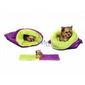 Marysa pelíšek - pytel 3v1 je určen pro štěňátko, koťátko, hlodavce nebo fretku mini 38 x 80 cm fialová/sv.zelená