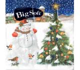 Big Soft Papírové ubrousky 2 vrstvé 33 x 33 cm 20 kusů Vánoční Sněhulák se stromečkem