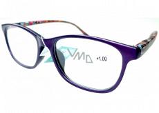 Berkeley Čtecí dioptrické brýle +1 plast fialové, barevné postranice 1 kus MC2193