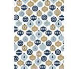 Ditipo Dárkový balicí papír 70 x 500 cm Bílý modré a zlaté ozdoby