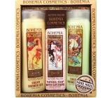 Bohemia Gifts Alfons Mucha Med a obilí krémový sprchový gel 200 ml + toaletní mýdlo s glycerinem s extrakty z listů oliv a citrusu 125 g + oliva a citrusy krémový sprchový gel 200 ml,kosmetická sada