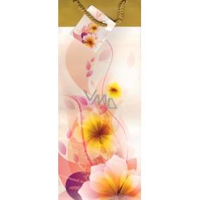 Nekupto Dárková papírová taška na láhev 36 x 12 x 9 cm bílo žlutá s kytkou ALH