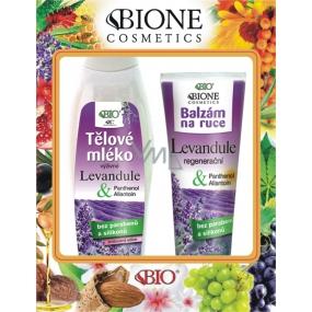 Bione Cosmetics Levandule výživné tělové mléko 500 ml + regenerační balzám na ruce 200 ml, kosmetická sada