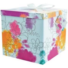Dárková krabička skládací s mašlí 03 Barevné květy XXL 30 x 30 x 17 cm
