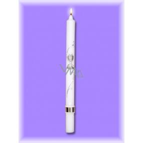 Lima Kostelní křestní - Sv.Přijímání svíčka, bílá zdobená stříbrně kalich 25 x 360 mm