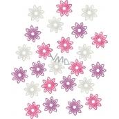 Květy dřevěné fialová, bílá, růžová 2 cm 24 kusů