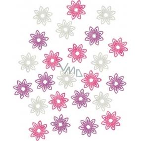 Dřevěné květy fialová, bílá, růžová 2 cm 24 kusů
