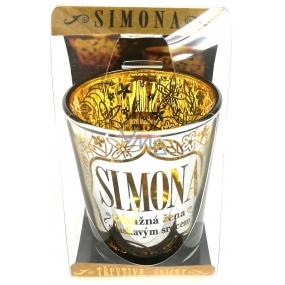 Albi Třpytivý svícen ze skla na čajovou svíčku SIMONA, 7 cm
