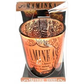 Albi Třpytivý svícen ze skla na čajovou svíčku MAMINKA je kouzelnice, která dokáže proměnit dům v domov, 7 cm