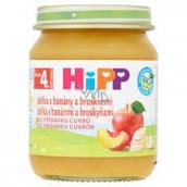 HiPP Ovoce Bio Jablka s banány a broskvemi ovocný příkrm, snížený obsah laktózy a bez přidaného cukru pro děti 125 g