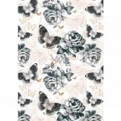 Ditipo Dárkový balicí papír 70 x 100 cm Bílý s motýlky 2 archy