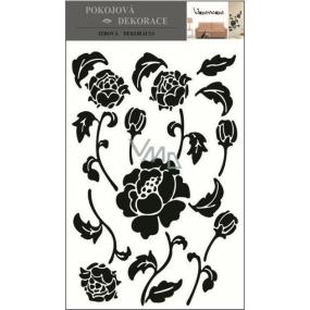 Room Decor Samolepky na zeď květiny černé 70 x 50 cm 1 arch