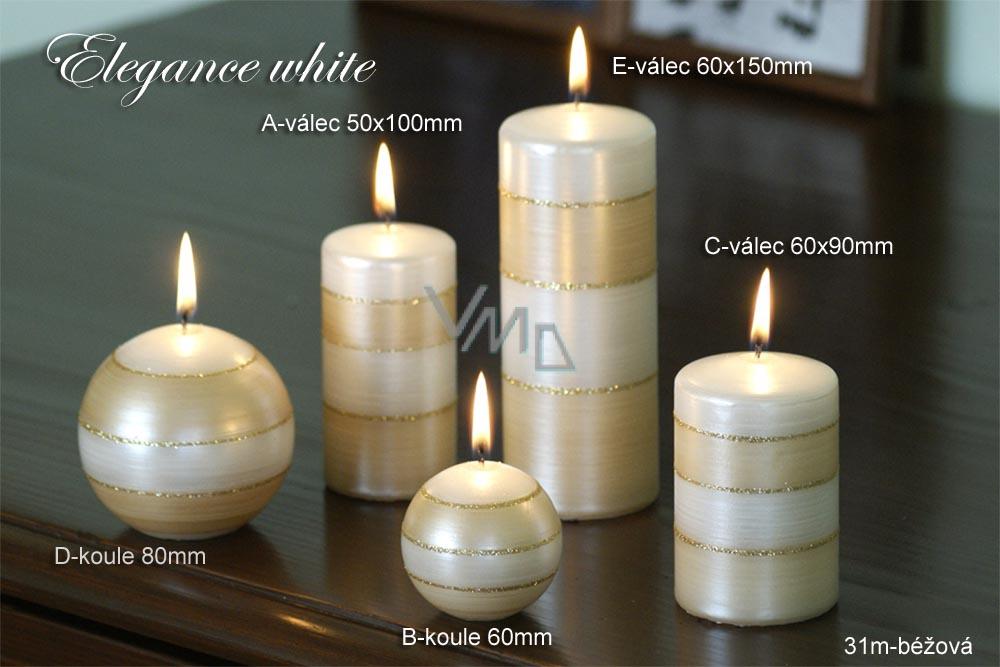 Lima Elegance White svíčka béžová koule průměr 80 mm 1 kus