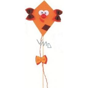 Dráček z filcu s pohyblivýma očima světle oranžový 8 + 17 cm