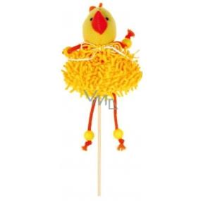 Zápich střapatý žlutý kuře 12 cm + špejle