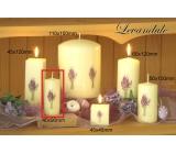 Lima Květina Levandule vonná svíčka slonová kost s obtiskem levandule válec 40 x 90 mm 1 kus