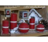 Lima Aura Vánoční fantazie vonná svíčka červená válec 60 x 120 mm 1 kus