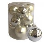 Sada skleněných baněk stříbrných 5,7 cm, 12 ks