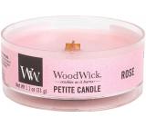 WoodWick Rose - Růže vonná svíčka s dřevěným knotem petite 31 g