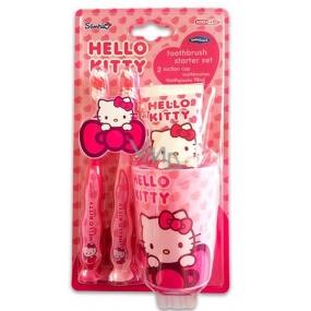 Hello Kitty 2x.zubní kartáček + kelímek + zubní pasta 75 ml dárková sada expirace 11/2018