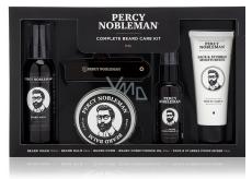 Percy Nobleman Šampón na vousy 100 ml + vyživující olejový kondicionér na vousy s vůní Percy Nobleman 50 ml + balzám na vousy 65 ml + hřeben na vousy a knír + hydratační krém na obličej a vousy 75 ml, sada péče o vousy pro muže