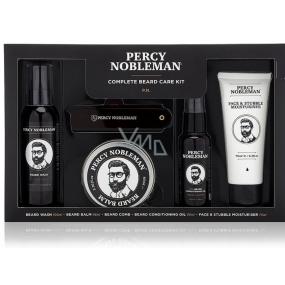 Percy Nobleman Šampón na vousy 100 ml + vyživující olejový kondicionér na vousy s vůní Percy Nobleman 50 ml + balzám na vousy 65 ml + hřeben na vousy a knír + hydratační krém na obličej a vousy 75 ml pánská péče o vousy
