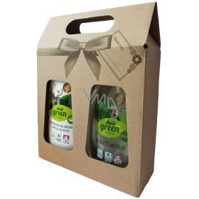 Real Green Clean 2v1 prostředek na nádobí a mýdlo na ruce dávkovač 500 g + Real Green Clean jemné tekuté mýdlo ve veganské kvalitě 500 g, dárková sada