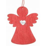 Anděl dřevěný závěsný červený 8 cm