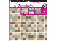 Room Decor Samolepka na zeď mozaika plastická, imitace obkladů, hnědá 2 archy 25,5 x 25,5 cm