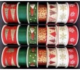 Nekupto Stuha látková vánoční Béžová červené stromky 25 mm x 2,5 m