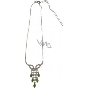 Bižuterie Náhrdelník stříbrný se zelenými kameny 34 cm + náušnice 1 pár
