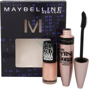 Maybelline Lash Sensational řasenka černá 9,6 ml + Colorama lak na nehty 046 7 ml, kosmetická sada