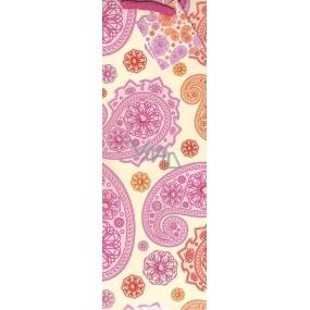 Nekupto Dárková papírová taška na láhev 1023 30 KFLH růžové a oranžové ornamenty 33 x 10 x 9 cm