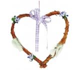 Srdce fialkový dekor s mašlí 22 cm