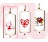 Lima Valentýnská svíčka 2 srdíčka svíčka s obtiskem bílá válec 50 x 100 mm 1 kus