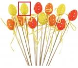 Zápich plastové vajíčko s puntíky žluté 4 cm + špejle