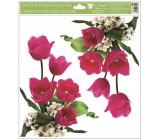Room Decor Okenní fólie bez lepidla rohová Tulipány růžové s glitry 30 x 33,5 cm