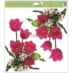 Okenní fólie bez lepidla rohová Tulipány růžové s glitry 30 x 33,5 cm