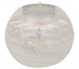 Svícen skleněný s glitry průměr 8 cm