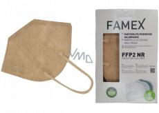 Famex Respirátor ústní ochranný 5-vrstvý FFP2 obličejová maska béžová 10 kusů