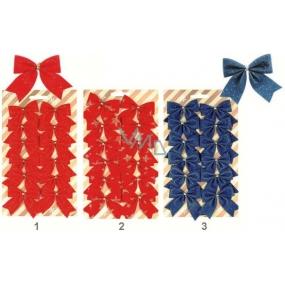 Mašle červené a modré s glitry a potiskem 12ks, 5,5cm