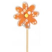 Květinka z filcu oranžová 4 cm + špejle