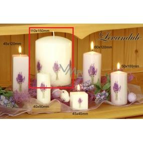 Lima Květina Levandule vonná svíčka světle fialová s obtiskem levandule válec 110 x 150 mm 1 kus