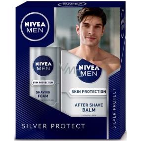 Nivea Men Silver Protect pěna na holení 200 ml + balzám po holení 100 ml, kosmetická sada