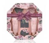 Baylis & Harding Okvětní lístky růže sprchový krém 130 ml + tekuté tělové mýdlo 130 ml + krystalky do koupele 100 g + mýdlo 150 g + tělové máslo 100 ml + žínka, kosmetická sada osmihran